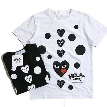 spbest COMME des GAR??ONS Holiday Emoji Dot with Heart T-Shirt