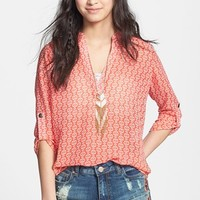 Lush Roll Tab Sleeve Woven Shirt (Juniors)