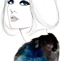 Print from original watercolor and mixed media fashion illustration by Jessica Durrant titled The Lone Tree