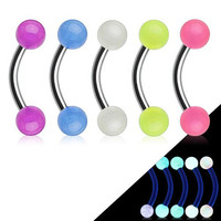 Multipak Colored Set of 5 Glow In the Dark Curved Eyebrow 16g 316L Stainless Steel Bar Barbell Ring
