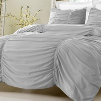 GRAY RUCHED DESIGN BEDDING SET-INCLUDES COMFORTER AND DUVET COVER - STYLE # 1005 C - CHERRY HILL COLLECTION