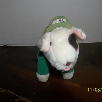 "vintage 1987 applause budweiser spuds mckenzie mascot dog plush wearing green hat 7"" tall"