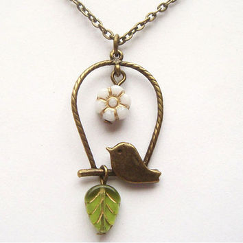 Antiqued Brass Little  Bird Czech Glass Flower Leaf by gemandmetal