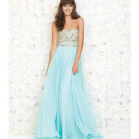 Madison James 15-116 Water Blue Strapless Embellished Chiffon Gown 2015 Prom Dresses