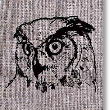 Owl On Burlap - Metal Print