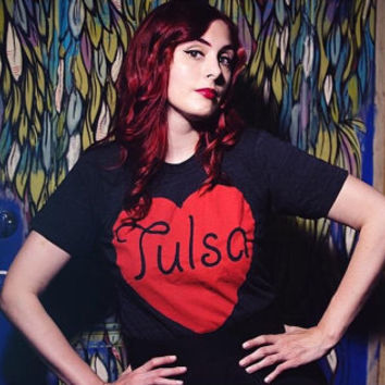 Tulsa - Made with Love in Tulsa, Oklahoma - hand printed T-shirt by pop artist Steve Cluck