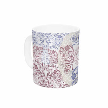 "Famenxt ""Floral Dense Garden"" Blue Brown Illustration Ceramic Coffee Mug"