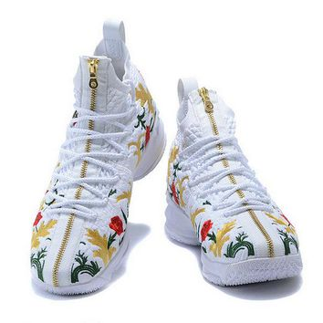 Buy 2018 2018 Nike LeBron 15 XV Shoe Floral Embroidery White Red Gold Brand sneaker