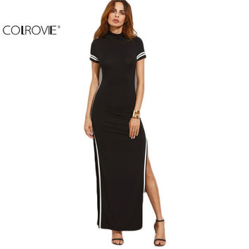 COLROVIE Women Sexy Wear Autumn Style Bodycon Dresses Black Cut Out Striped Trim Short Sleeve High Neck Split Sheath Maxi Dress