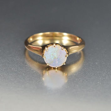 Antique Edwardian 14K Gold Opal Engagement Ring