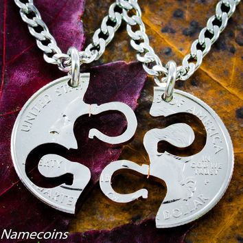 Horseshoe Necklace, Equestrian Jewelry, Friendship hand cut coin by Namecoins