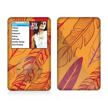 The Orange and Red Vector Feathers Skin For The Apple iPod Classic