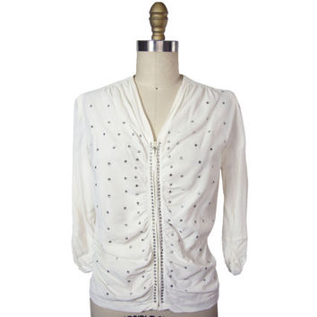 1940's The Opera Brand Zip Front Rayon Blouse with Rhinestones Small