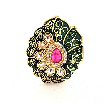 Matte meenakari finish designer adjustable Finger ring