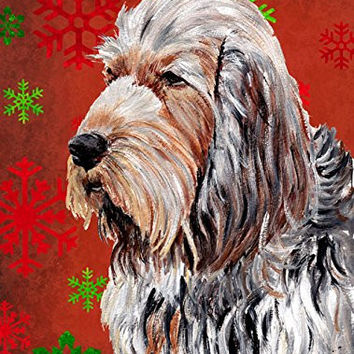Caroline's Treasures SC9756GF Otterhound Red Snowflakes Holiday Flag, Small, Multicolor