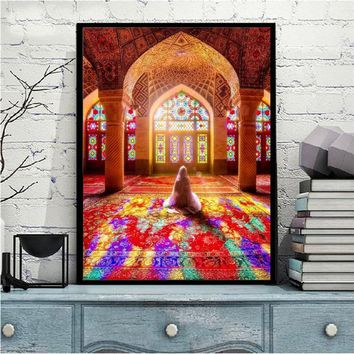 Islamic Mosque Posters and Print Wall Art Canvas Painting Wall Decoration Muslim Pilgrims Pictures for Living Room Wall No Frame