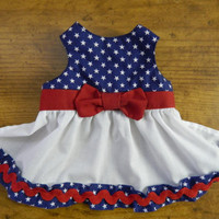 Dog Dress for Fourth of July red white and blue XXS-M