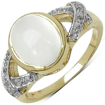 14K Yellow Gold Plated 2.71 Carat Genuine White Moonstone & White Topaz .925 Sterling Silver Ring