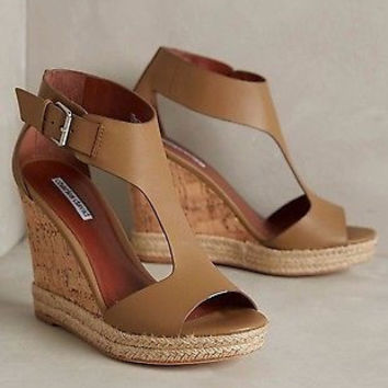 New Anthropologie $170 Charles David Olivia Wedges Sz 10 B  - Italy