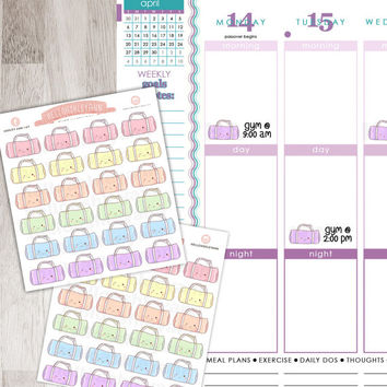 24 Rainbow Cute Gym Bag / Workout Stickers for YOUR planner! | Erin Condren Planner / Plum Paper Planner / Filofax / Kikki K / Planner