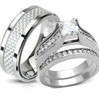 His & Hers Stainless Steel Princess Cut CZ Wedding Ring Set Size 5,6,7,8,9,10