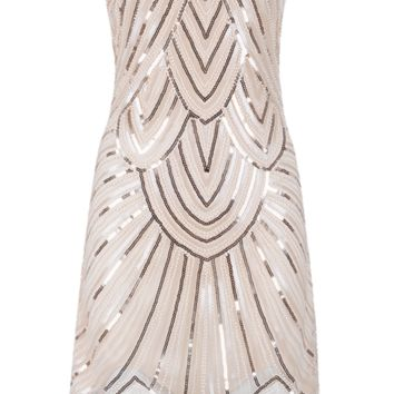 'Esha' Sequined Fringe Dress - White