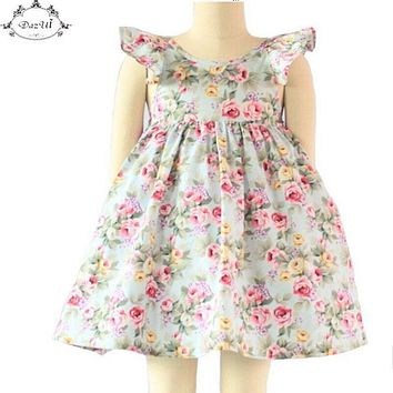 Vintage Floral Girls Dress Ruffle Sleeve Backless Bule Flower Baby Girls Summer Dress Boutique Girls Clothes 6T Girls Outfit