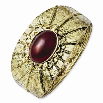 Brass-tone Red Acrylic Stone Hinged Cuff Bangle