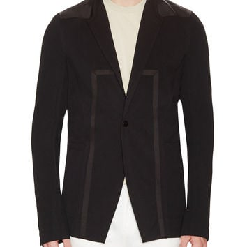 Rick Owens Men's Wool Notch Lapel Contrast Trim Jacket - Black - Size 48