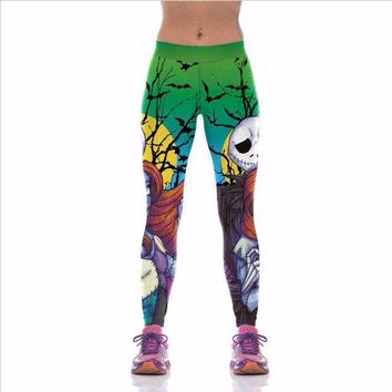 ONETOW Womens Printed Halloween Leggings The Nightmare Before Christmas Cosplay Leggin Jack And Sally Slim Design Fitness Girls Pants