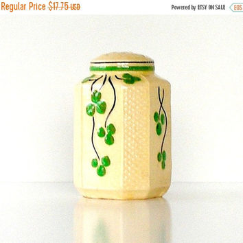 SALE Antique Pottery Spice Shaker, Hand Painted Shamrocks, Vintage Pottery Salt Shaker.
