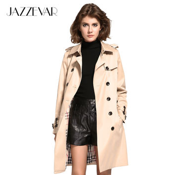 JAZZEVAR High Fashion Street Women's Double Breasted Trench Coat Business Slimmed Waterproof Raincoat Office Lady Outerwear