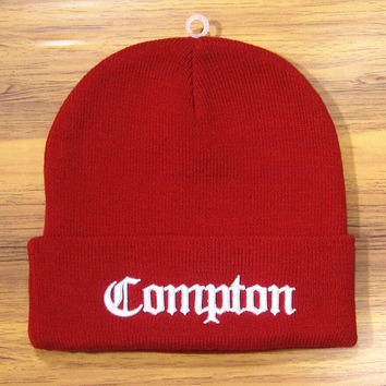 COMPTON Beanie Warm Winter Fashion Cotton Embroidered Wool Knitted Autumn Outdoor Womens & Mens Red & White Cuffed Skully Hat