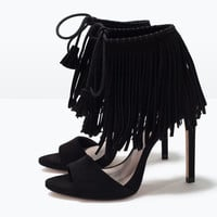Fringed high heel sandals