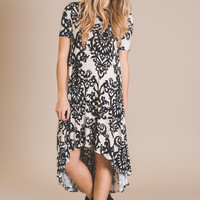 Southern Vintage Printed Shift Dress-Black