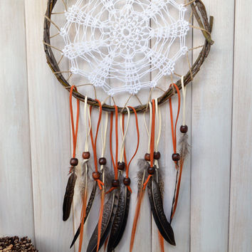 Doily dream catcher, Rustic Dreamcatcher, Tribal, Tangerine, Native American, Crochet Lace Large dream catcher, OOAK natural wall hanging