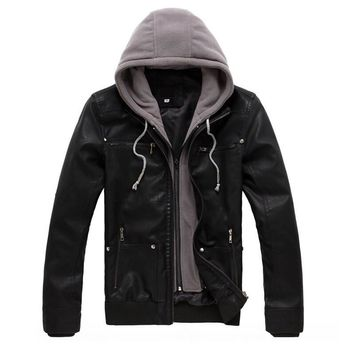 Size M-4XL Cotton Hooded Detachable Men's Fashion Motorcycle Black PU Faux Leather Jacket Men Casual Biker Leather Coat Slim