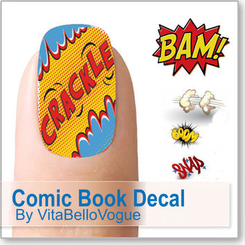 Comic Book Nail Decal- Cartoon nail art manicure by Vitabello Vogue
