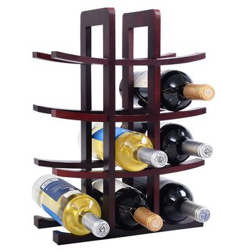 New 12 Bottle Wood Wine Rack Bottle Holder Storage Bar Kitchen Burgundy Ship in usa