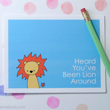 Lion Get Well Card Handmade Greeting Card Cute Card Get Well Soon Card Thinking of You Card Fun Card Animal Pun Card Cute Lion Card