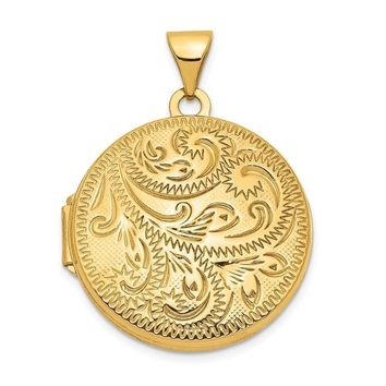 14k Yellow Gold 20mm Round Hand Engraved Scroll Locket