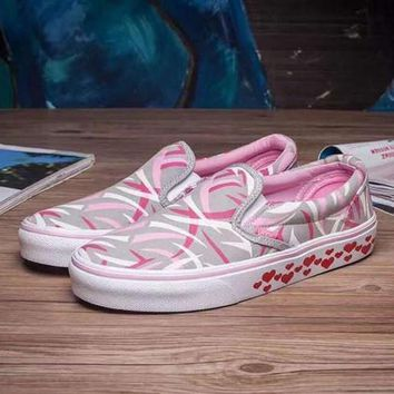 VANS Slip-On Canvas Shoes Hearts Pattern Flats Sneakers Sport Shoes