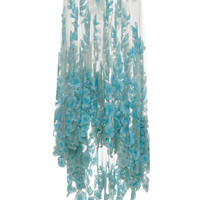 Long Tulle Skirt With Blue Sequined Flowers by Blumarine - Moda Operandi