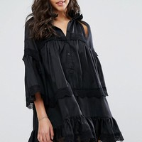 Stevie May Dark Shadow Dress With Cut Outs and Ruffle Detailing at asos.com