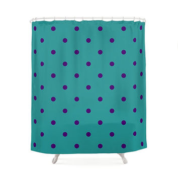 Funny Turquoise and Purple Shower Curtain, 5 Pattern Options, Circles and Dots, Happy Pattern, Bath Curtains, Geometric Art, Children Decor