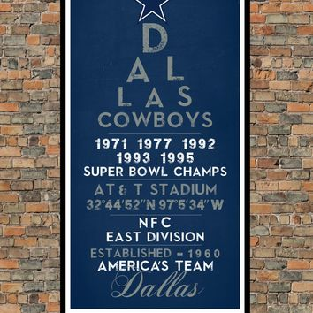Dallas Cowboys Eye Chart chalkboard print - Football Sports Gift Subway Sign