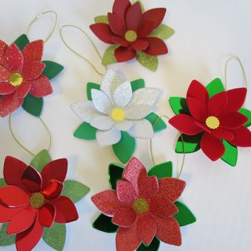 Set of 6 Poinsettia Ornaments, Festive Christmas Tree Decorations, Holiday Hanging Decor, Velvet and Glitter Flowers