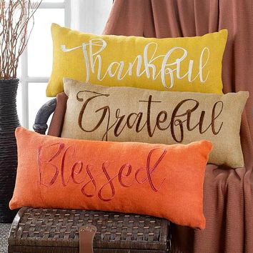 Embroidered Burlap Pillow Harvest Colors Over-sized Blessed Grateful Thankful