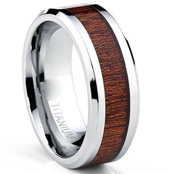Men's Titanium Ring, Wood Inlaid Wedding Band, Sizes 7 to 13