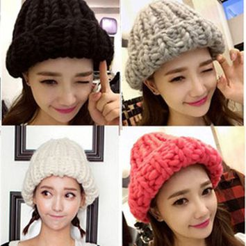 ICIKJG2 2015 Korean Thermal Thick Yarn Handmade Women Knitted Hat Winter Warm Slouch Beanie Caps Roll up